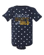 "Infant Onesie - ""I Drool Navy and Gold"""